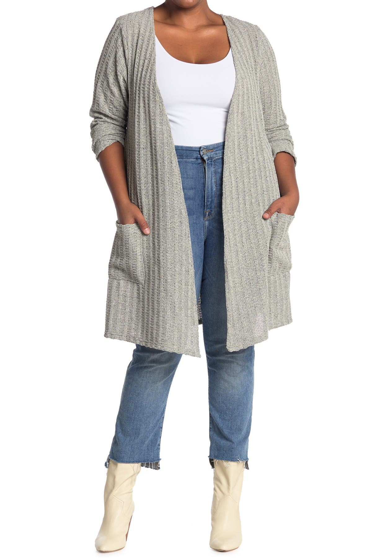 Image of Forgotten Grace Boucle Ribbed Pocket Cardigan