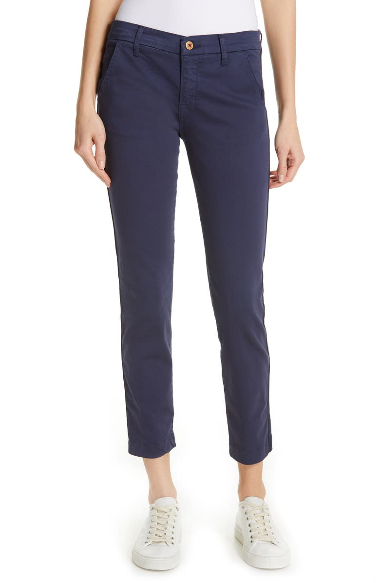 NSF CLOTHING Wallace Tape Seam Skinny Crop Pants, Main, color, NAVY