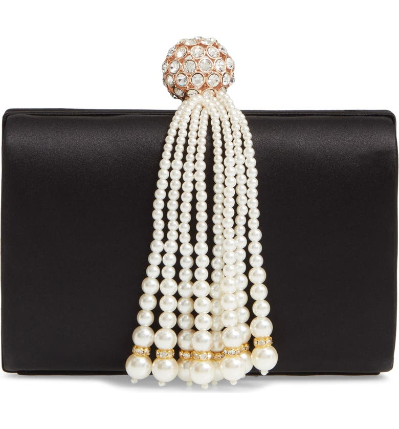 NORDSTROM Imitation Pearl Fringe Satin Minaudière, Main, color, 001