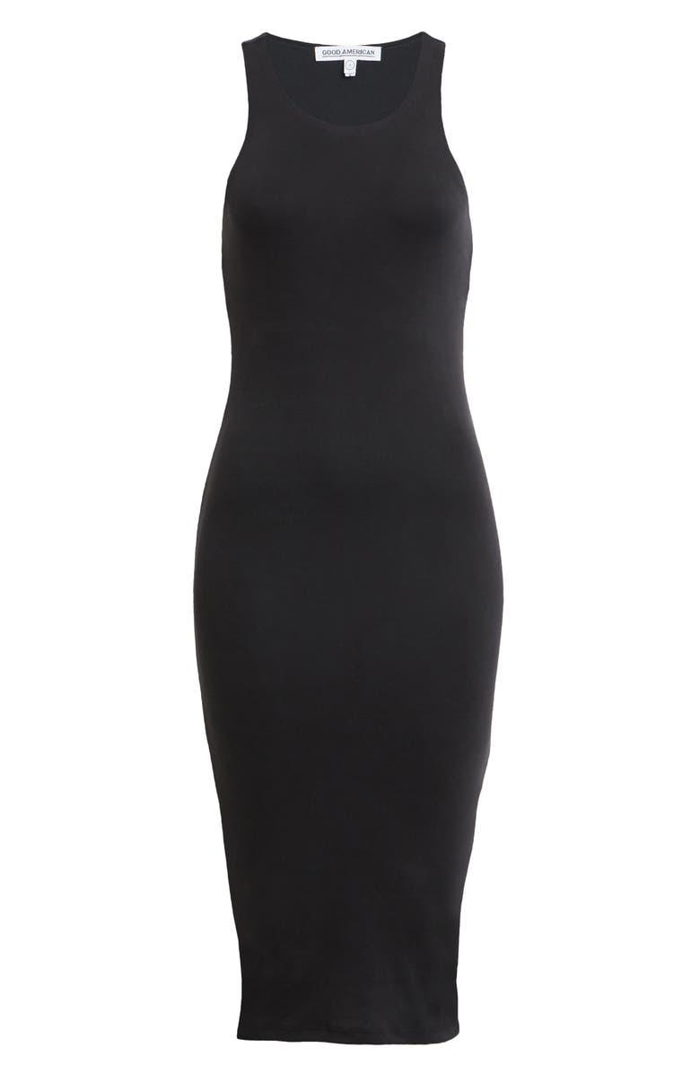 GOOD AMERICAN Microrib Sleeveless Midi Body-Con Dress, Main, color, 001