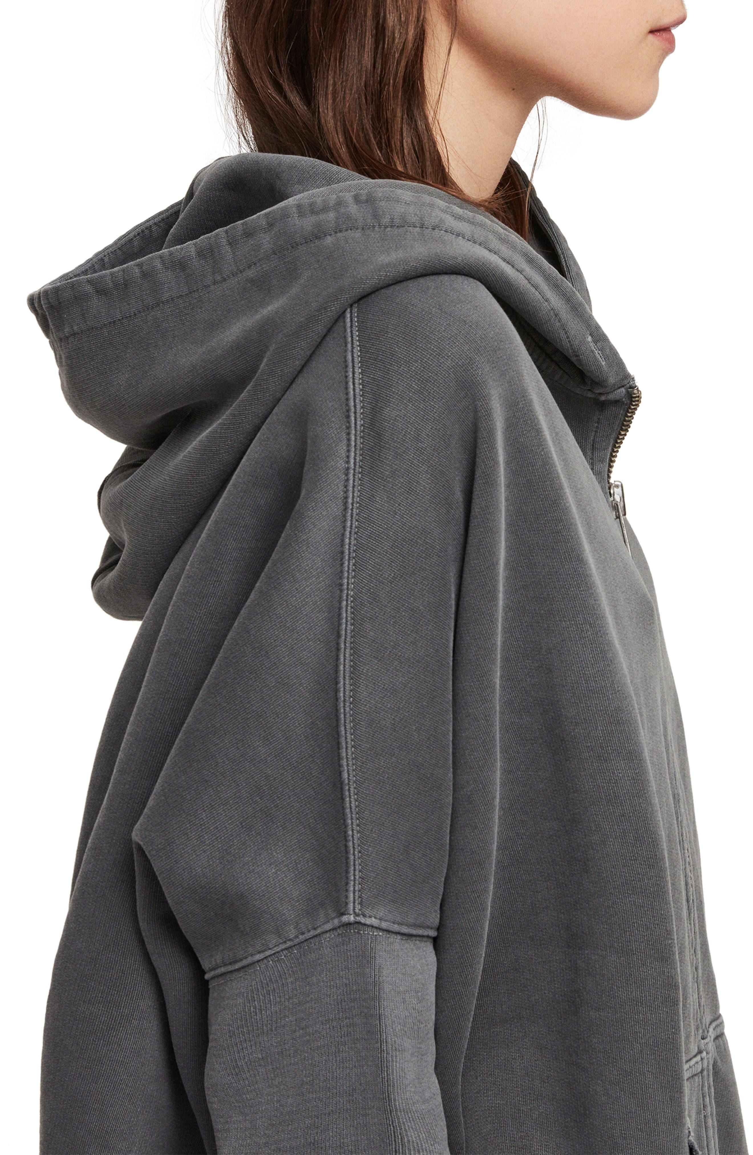 ,                             Xonda Zip Hooded Sweatshirt,                             Alternate thumbnail 4, color,                             WASHED BLACK