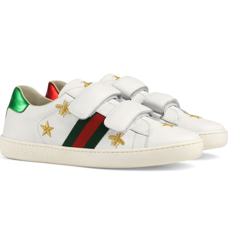 GUCCI New Ace Embroidered Sneaker, Main, color, WHITE STAR