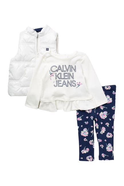 Image of Calvin Klein Logo Vest, Long Sleeve Ruffled T-Shirt, & Leggings Set