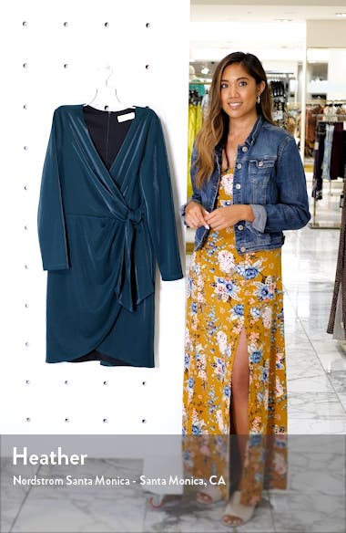 Liquid Jersey Long Sleeve Faux Wrap Dress, sales video thumbnail