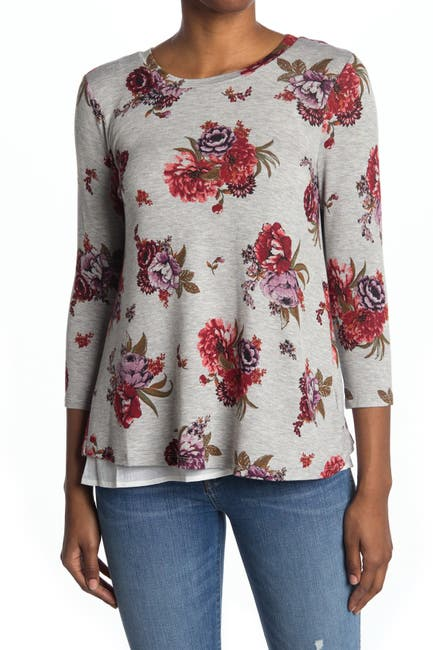 Image of Bobeau Floral Print Bow Tie Back Top