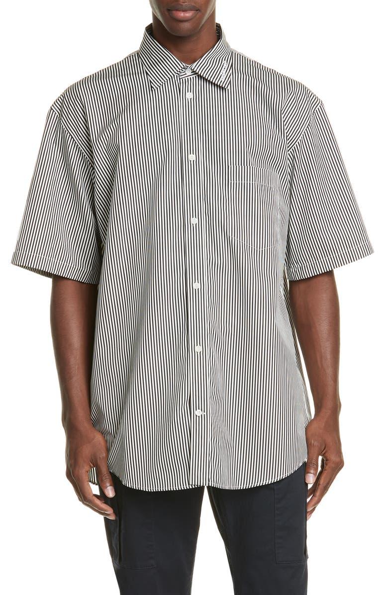 BALENCIAGA Normal Fit Stripe Short Sleeve Button-Up Shirt, Main, color, BLACK/ OFF WHITE