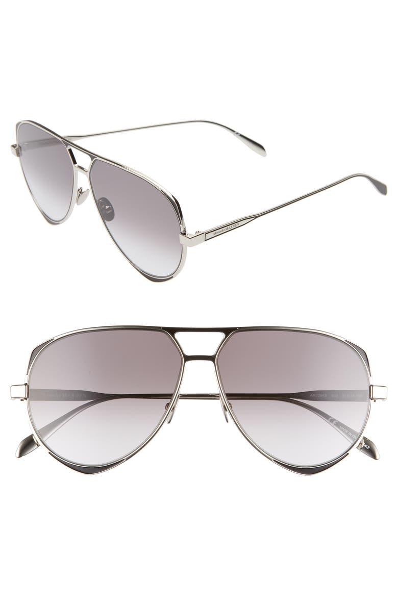 ALEXANDER MCQUEEN 61mm Aviator Sunglasses, Main, color, SHINY SILVER/ BLACK