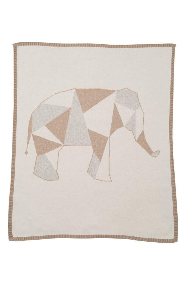LUCKY JADE Geometric Elephant Cotton & Cashmere Blanket, Main, color, 100