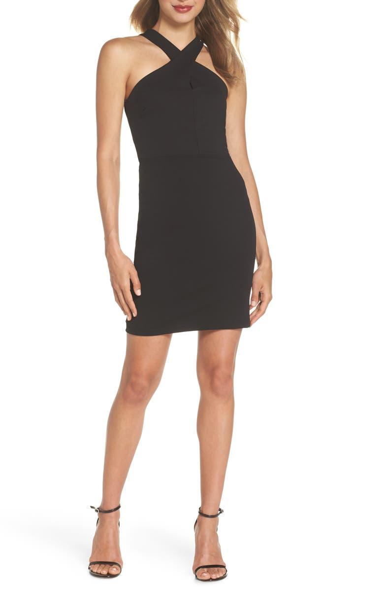LULUS Thrive Racerback Minidress, Main, color, BLACK