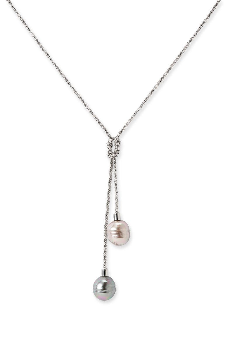 MAJORICA 'Baroque Love Knot' Lariat Necklace, Main, color, 020