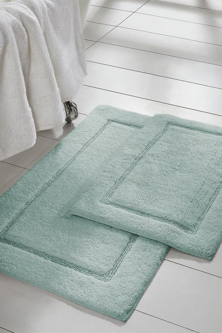 Image of Modern Threads Spa Blue Solid Loop Non-Slip Bath Mat 2-Piece Set
