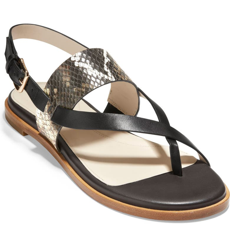 COLE HAAN Anica Sandal, Main, color, BLACK SNAKE PRINT LEATHER