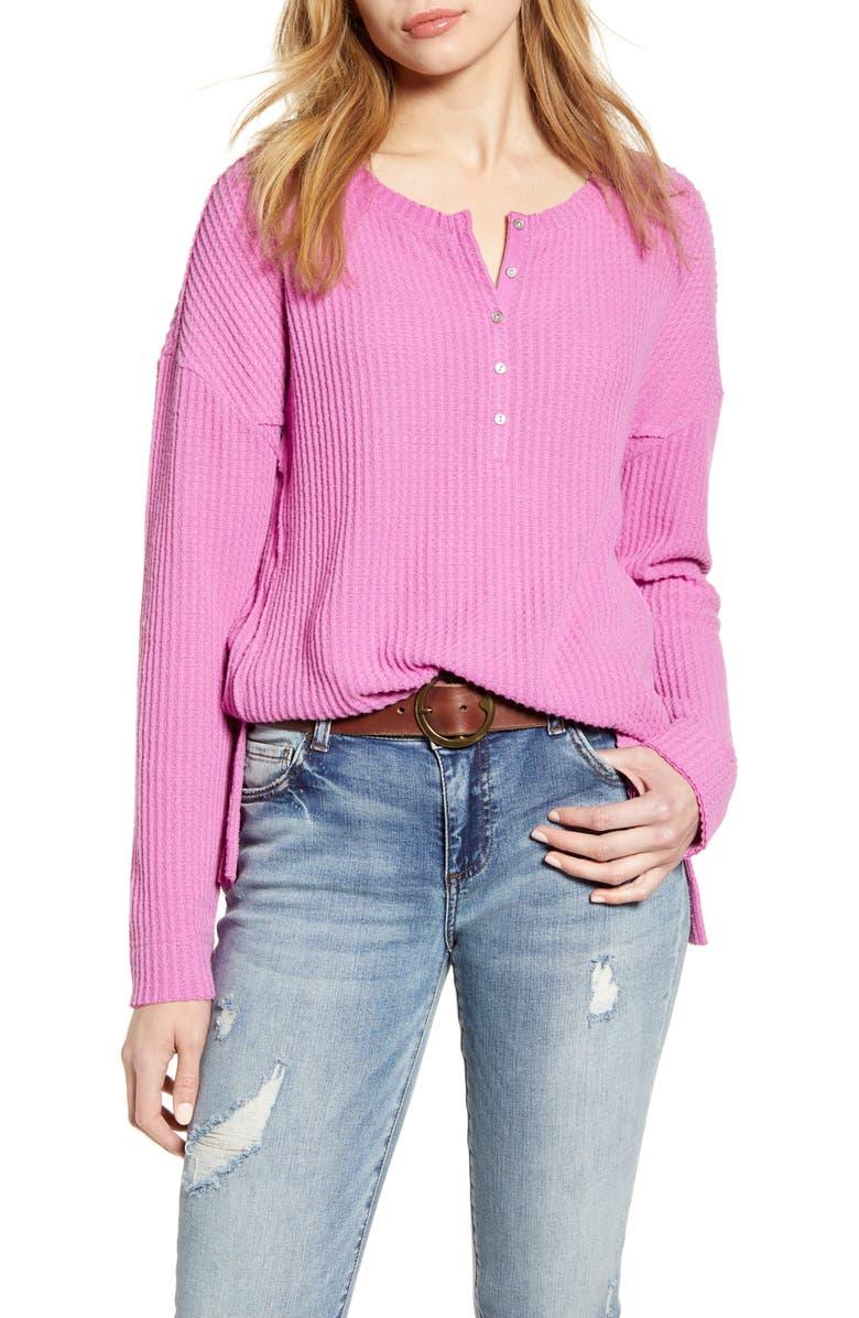 CASLON<SUP>®</SUP> Thermal Henley Top, Main, color, PINK ROSEBUD