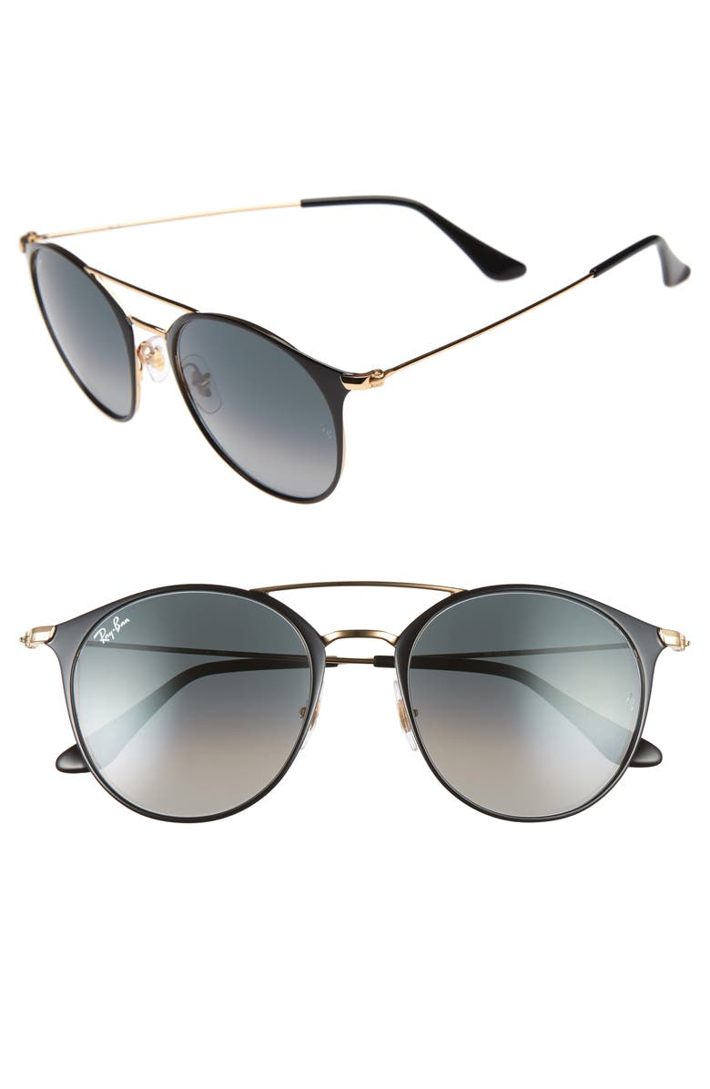 RAY-BAN Highstreet 52mm Round Brow Bar Sunglasses, Main, color, BLACK/ GOLD/ GREY