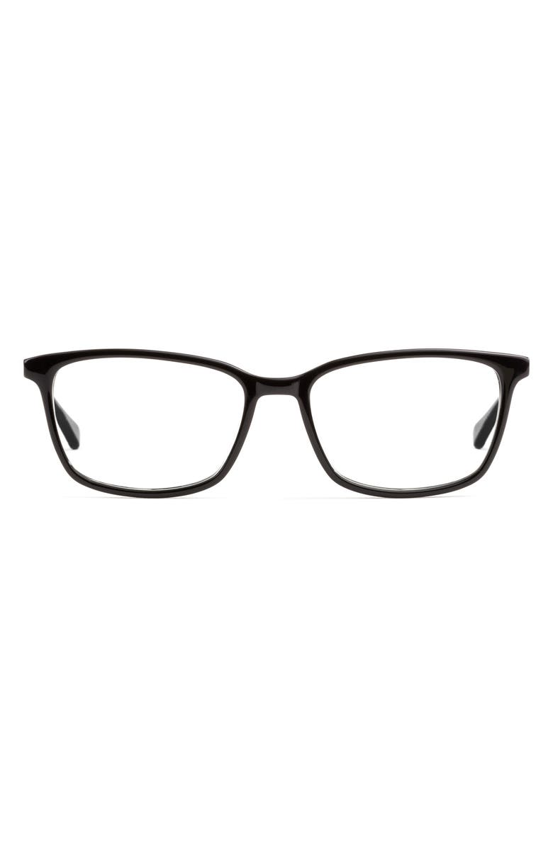FELIX GRAY Faraday 53mm Rectangle Blue Light Blocking Glasses, Main, color, BLACK/ CLEAR