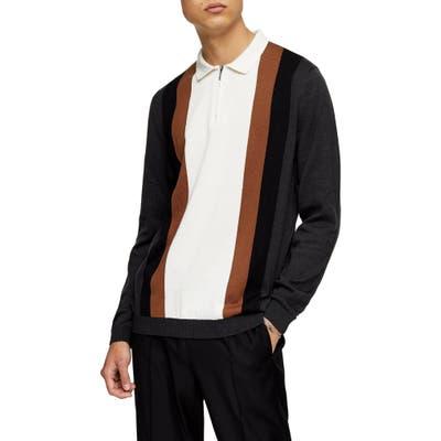Topman Stripe Zip Polo Sweater, Grey