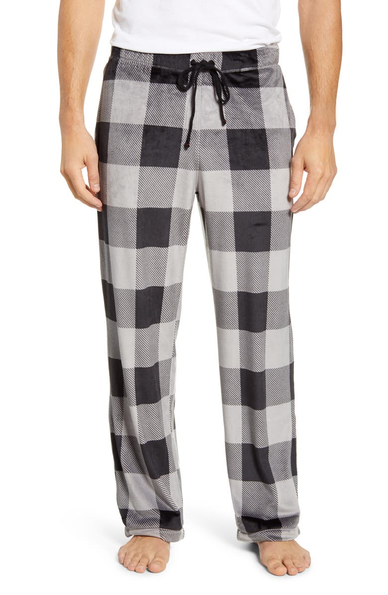 DANIEL BUCHLER Stretch Velour Pajama Pants, Main, color, BLACK/ GREY PLAID