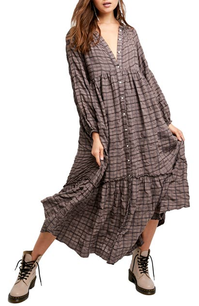 Free People EDIE PLAID SHIRTDRESS