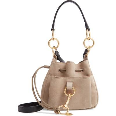 See By Chloe Mini Tony Leather Bucket Bag - Grey