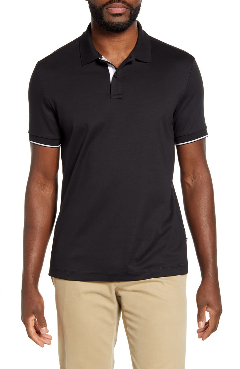 BOSS Parlay 78 Solid Polo, Main, color, 001
