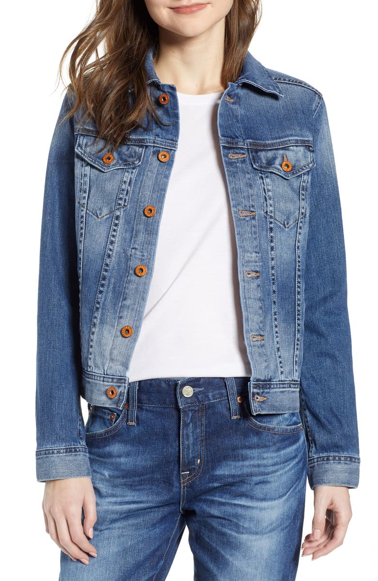 AG 'Mya' Denim Jacket, Main, color, AZURE ACTION