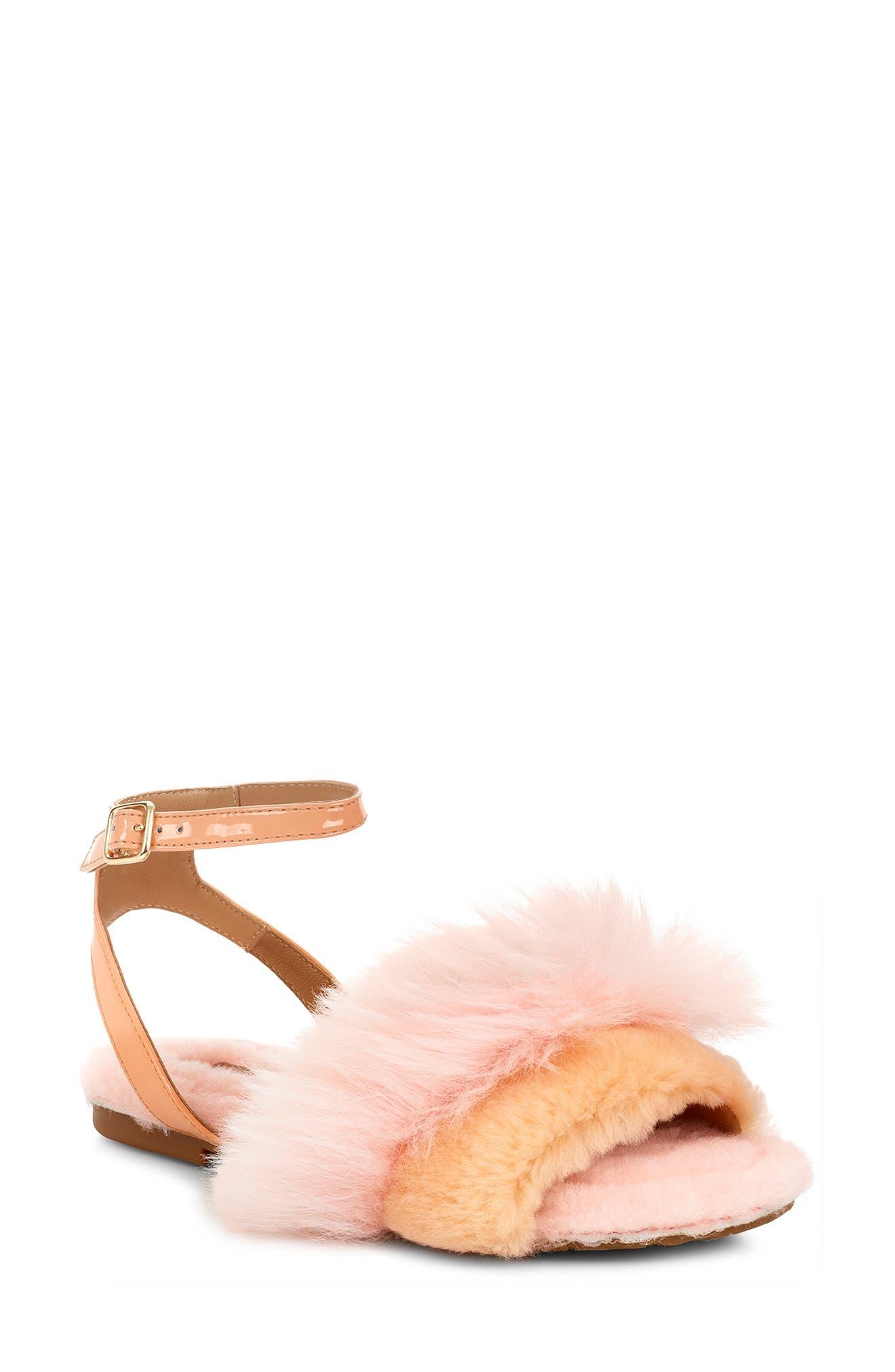 Ugg Fluff Fest Genuine Shearling Sandal, Pink