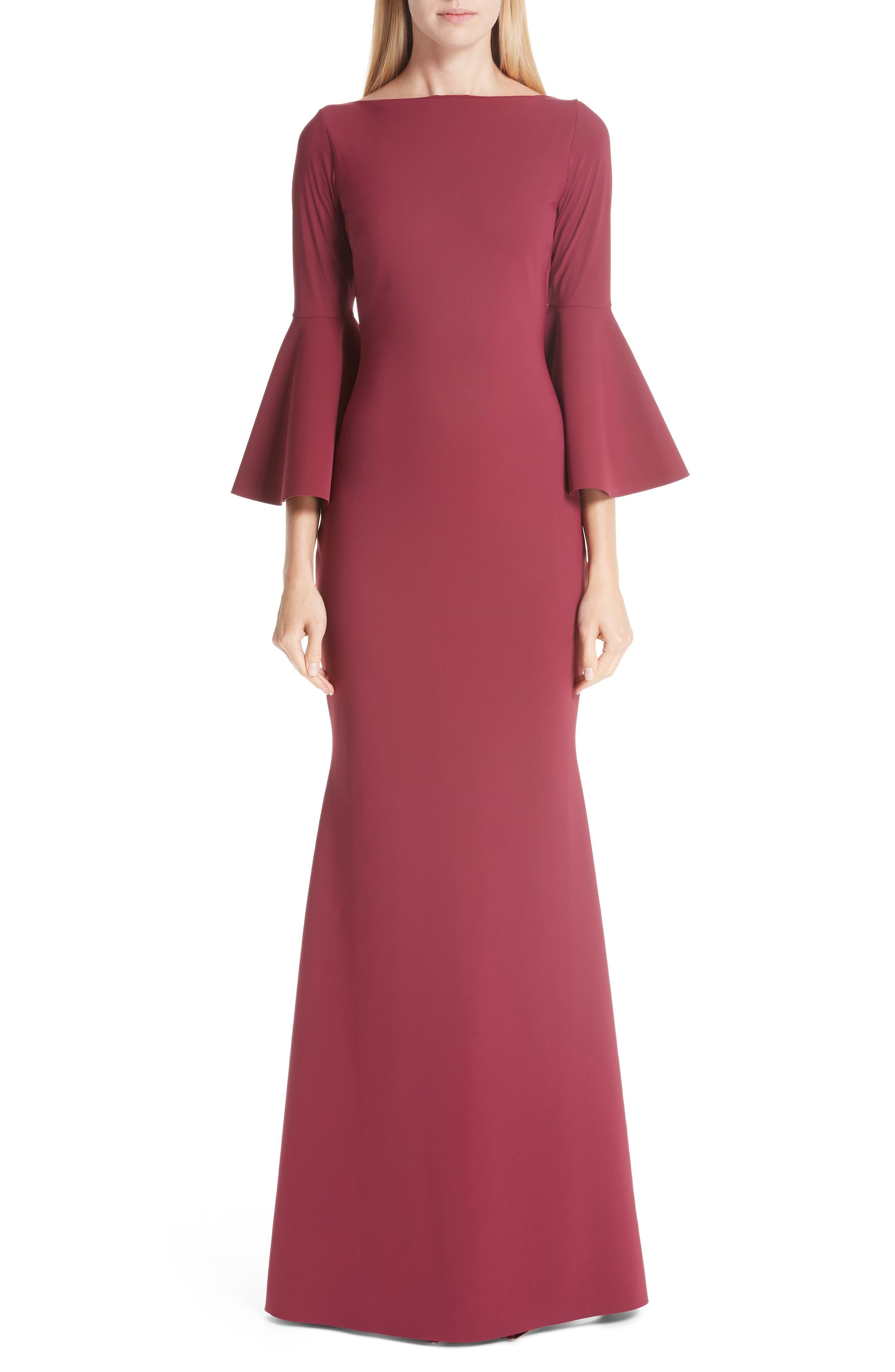 Chiara Boni La Petite Robe Iva Bell Sleeve Evening Dress, 8 IT - Red