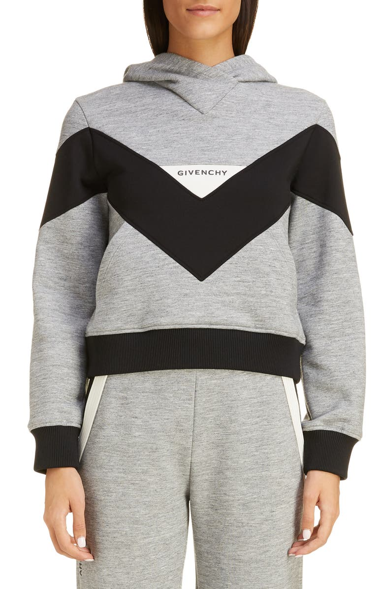 GIVENCHY Colorblock Hooded Sweatshirt, Main, color, GRAY/ BLACK