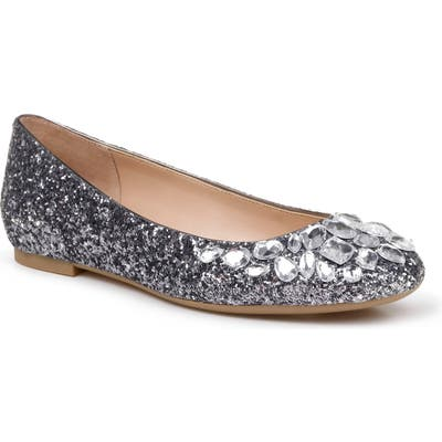 Jewel Badgley Mischka Mathilda Embellished Ballet Flat, Grey