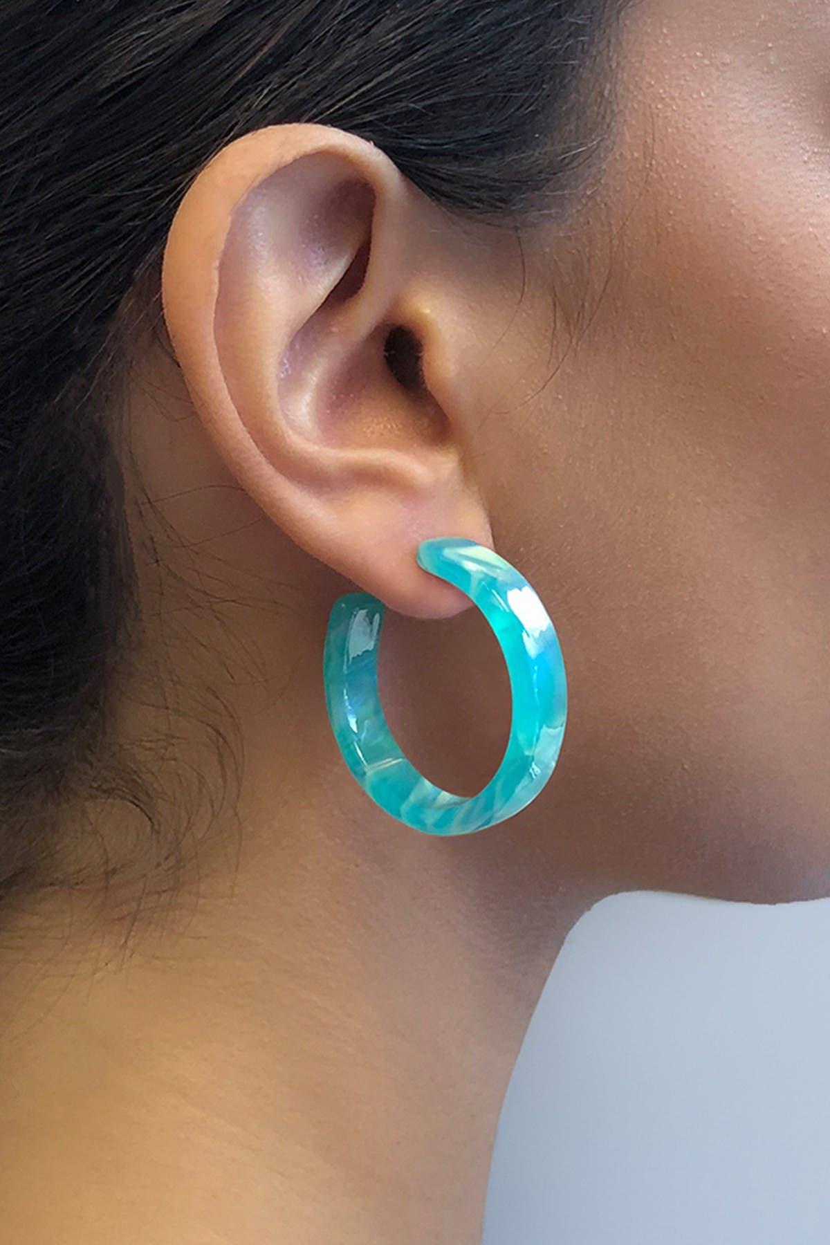 Sterling Forever Brass Sea Glass Resin Hoop Earrings