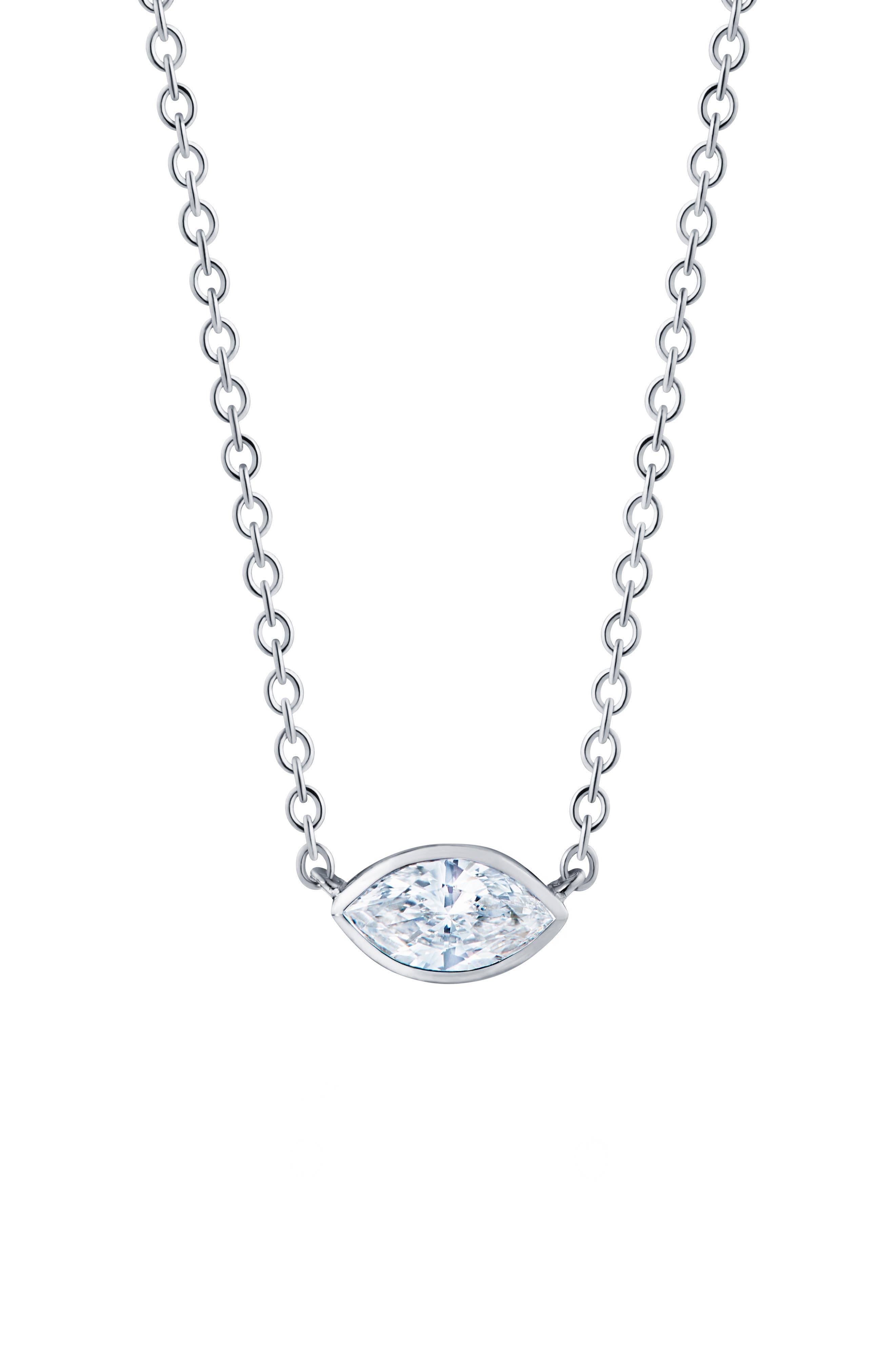 ,                             Marquise Diamond Pendant Necklace,                             Main thumbnail 1, color,                             WHITE GOLD