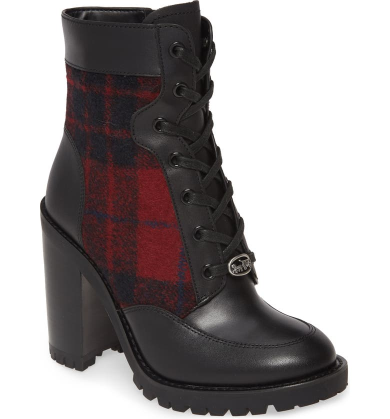 COACH Hedy Bootie, Main, color, RED/ BLACK PRINT MULTI