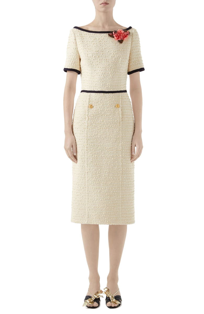 GUCCI Floral Appliqué Bouclé Tweed Midi Sheath Dress, Main, color, OFF WHITE/ MIX