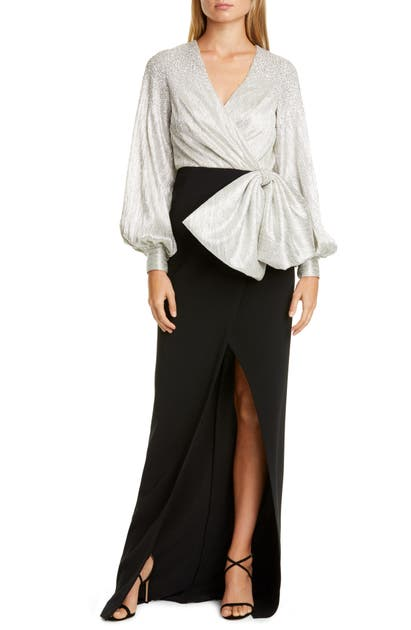 Sachin & Babi Tops EMBELLISHED DRAPE BISHOP SLEEVE COLUMN GOWN