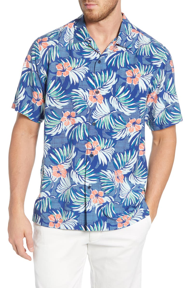 TOMMY BAHAMA Marina Blooms Shirt, Main, color, MADRAS BLUE