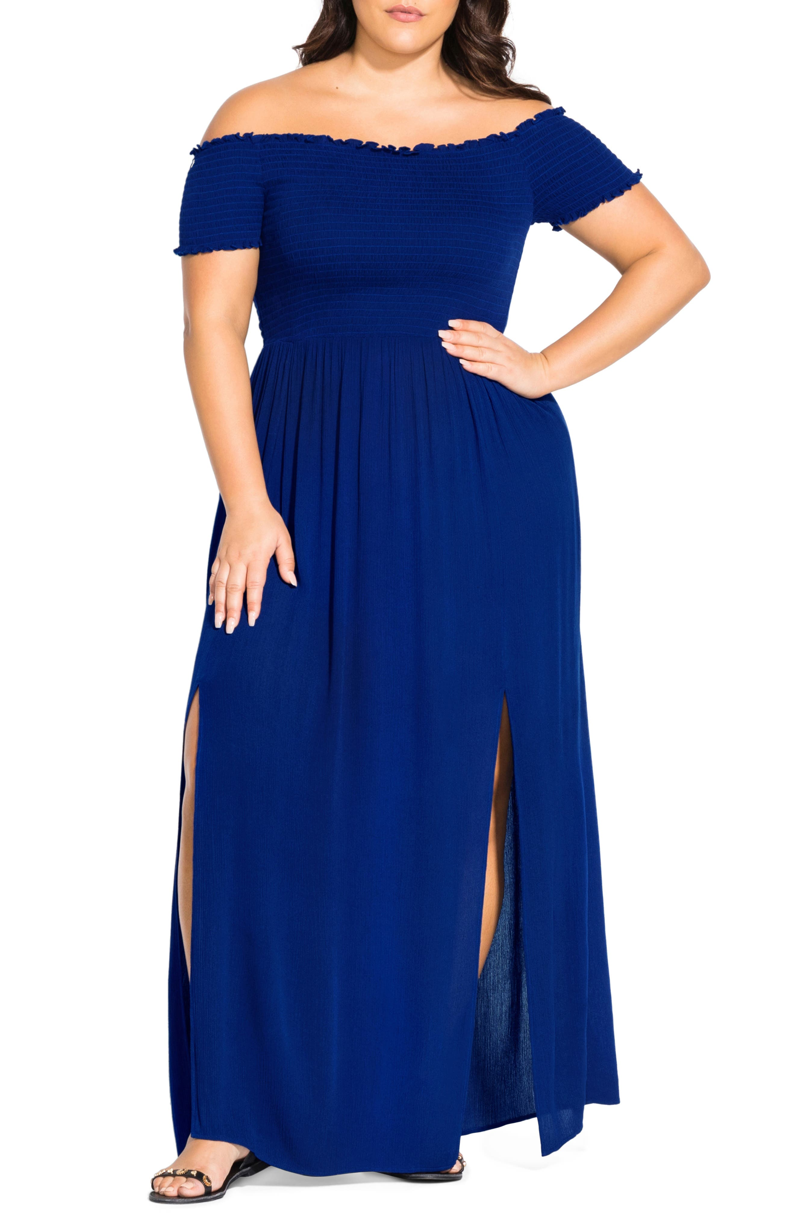 Plus Size City Chic Summer Passion Off The Shoulder Maxi Sundress, Blue