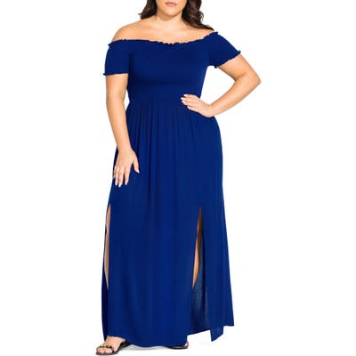 Plus Size City Chic Summer Passion Off The Shoulder Maxi Sundress