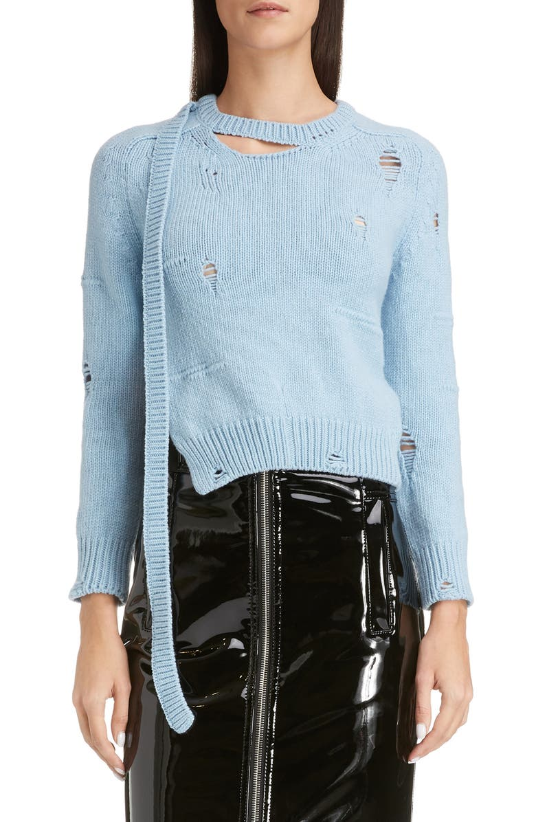 THE MARC JACOBS The Worn & Torn Sweater, Main, color, PALE BLUE