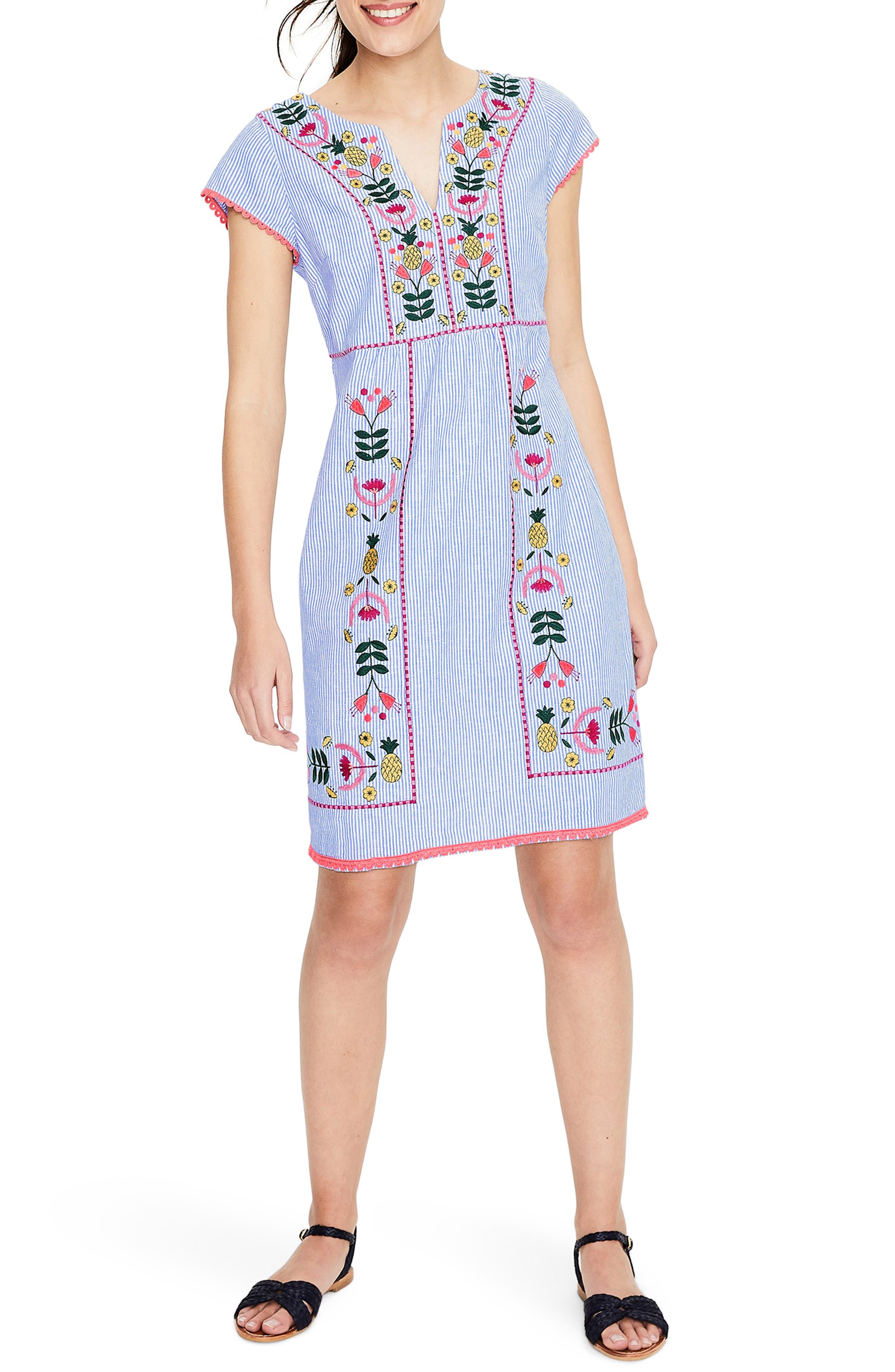 Boden Bea Embroidered Linen Dress, Blue