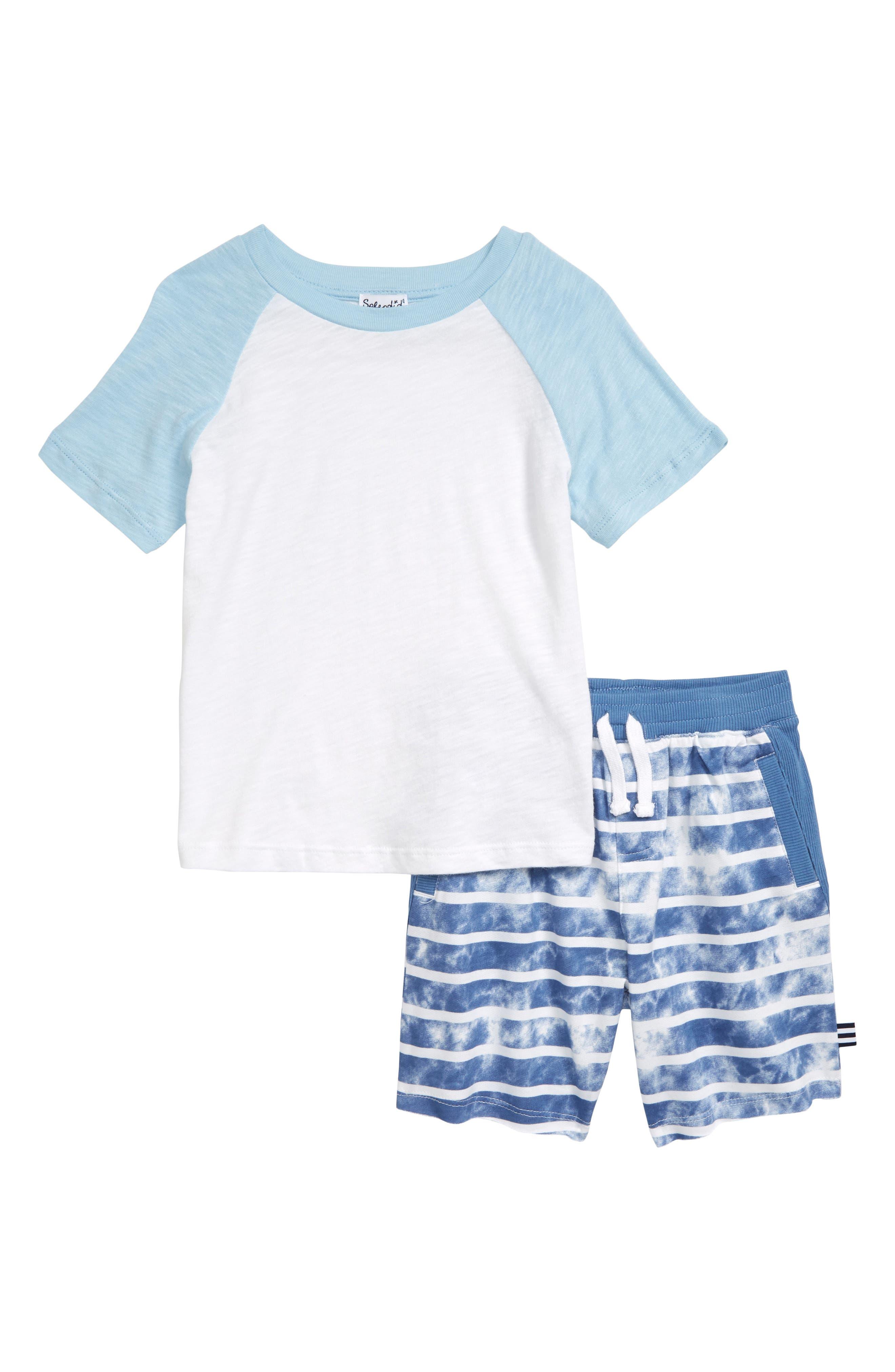 Toddler Boys Splendid Raglan Shirt  Tie Dye Stripe Shorts Set
