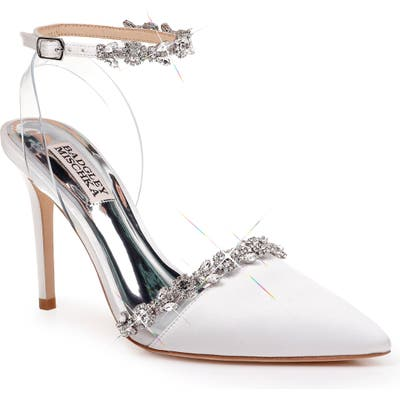 Badgley Mischka Adelina Ankle Strap Pump, White
