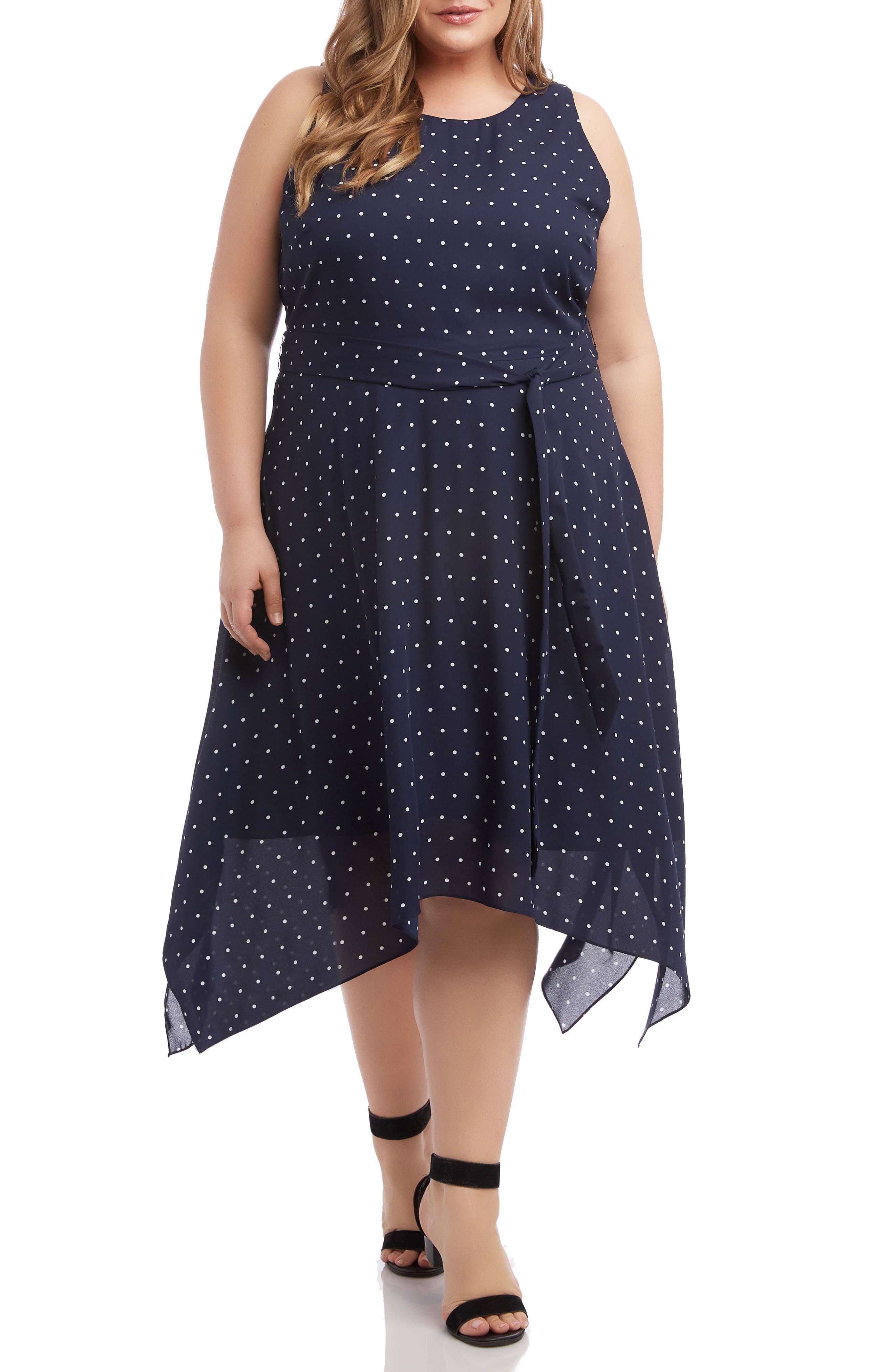 Plus Size Karen Kane Polka Dot Sleeveless Handkerchief Hem Dress, Blue