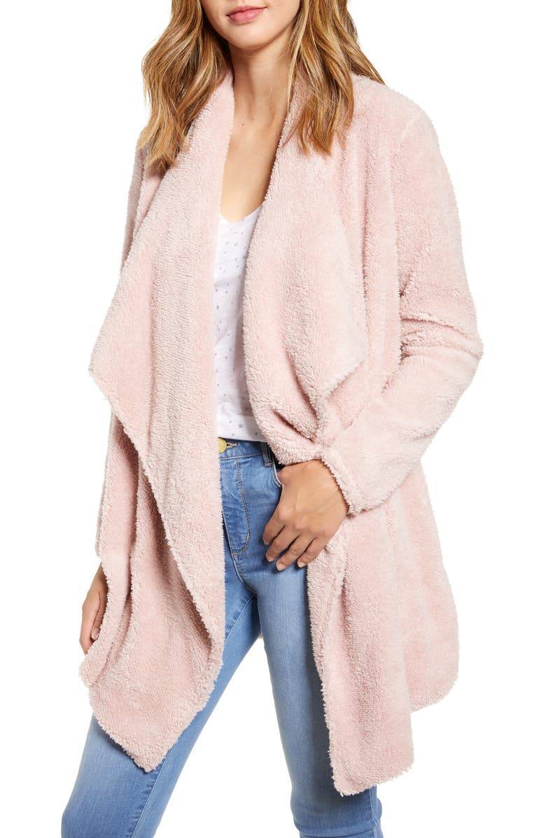 GIBSON Teddy Bear Faux Fur Jacket, Main, color, ENGLISH ROSE