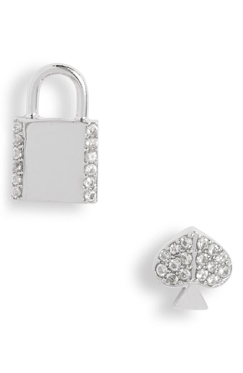 KATE SPADE NEW YORK mismatched pavé stud earrings, Main, color, 040