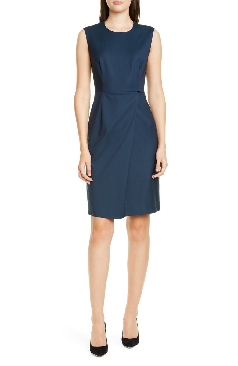 BOSS Dathea Minidessin Wool Sheath Dress, Main, color, NAVY FANTASY