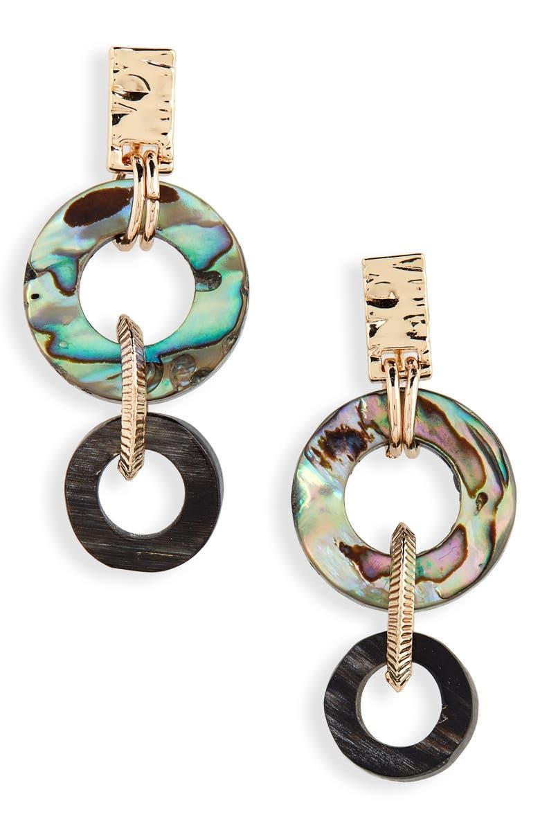 AKOLA Small Abalone Drop Earrings, Main, color, BLACK