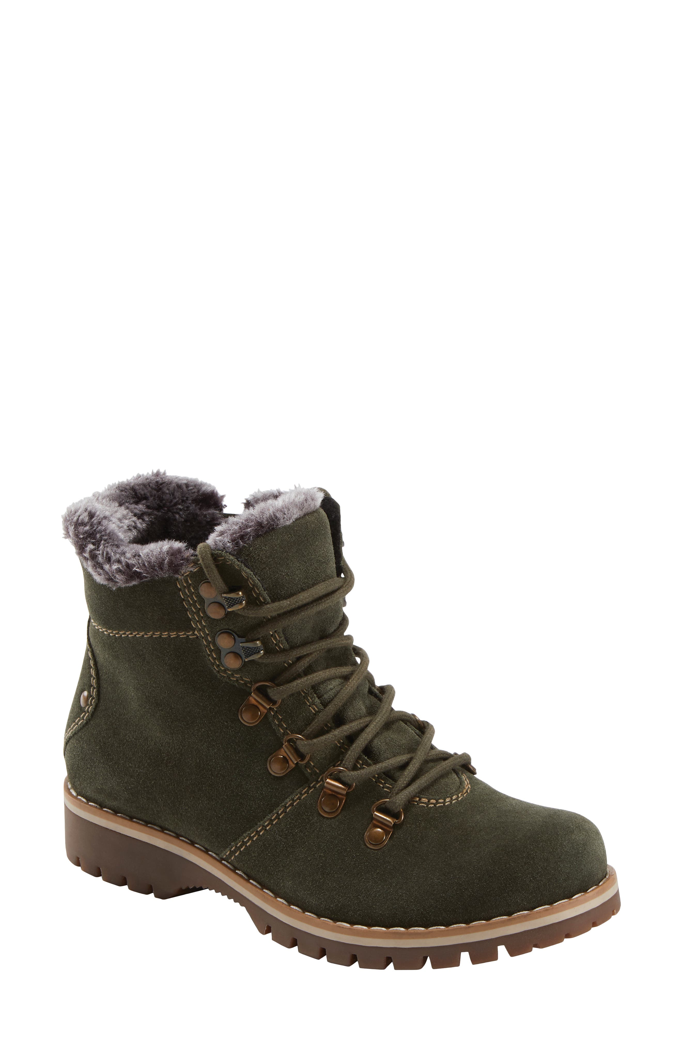 Plush faux fur lines the collar for enhanced comfort in this water-repellent boot featuring the Powerpath footbed with support that reinforces good posture. Style Name: Earth Ranger Acadia Water Repellent Hiking Boot (Women). Style Number: 6122026. Available in stores.