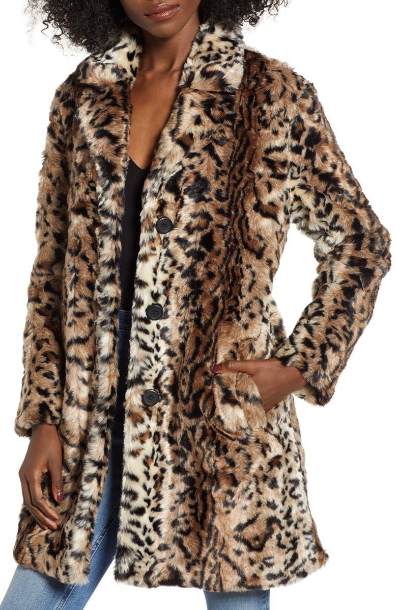 BB DAKOTA Bradshaw Leopard Spot Faux Fur Coat, Main, color, 210