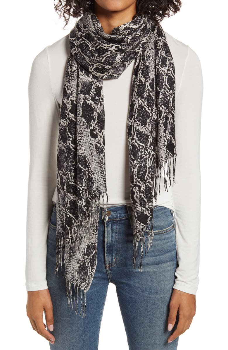 NORDSTROM Tissue Print Wool & Cashmere Wrap Scarf, Main, color, GREY SNAKE BANDS