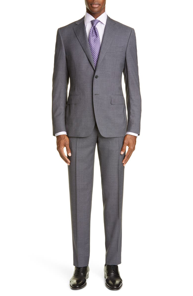 CANALI Sienna Soft Trim Fit Houndstooth Wool Suit, Main, color, GREY